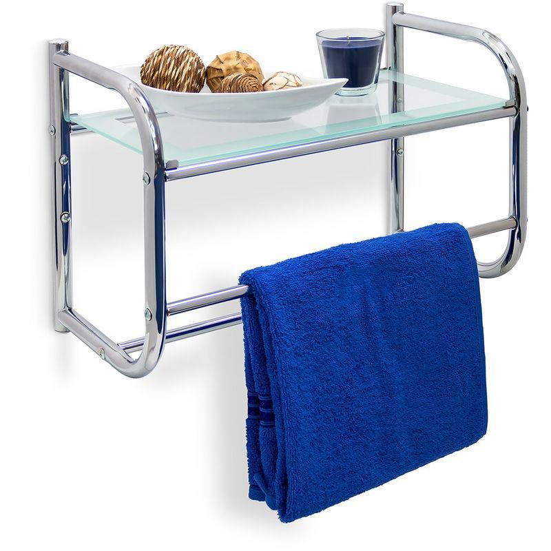 relaxdays etagere avec 2 porte serviettes murale plateau en verre rangement salle de bain inox 34 x 45 x 23 cm couleur metal