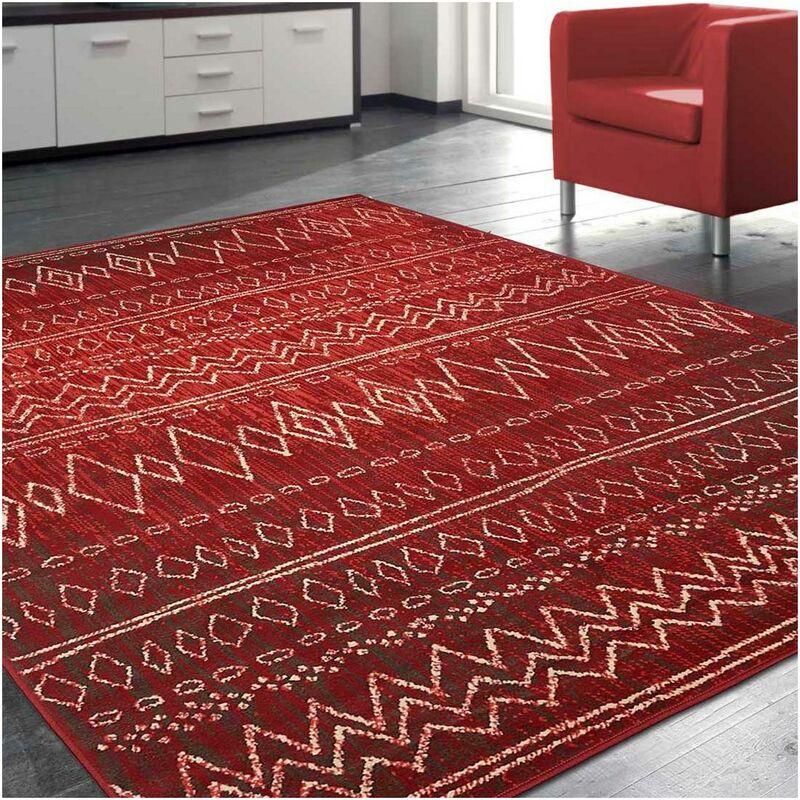 un amour de tapis tapis moderne pour salon design scandinave berbere ethnique petit tapis salon rouge 80x150 cm