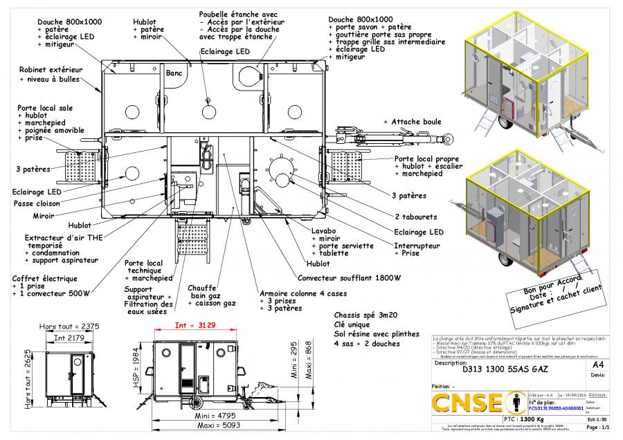 Roulotte de chantier rd 525 5sas / décontamination / 5 x 2.2m