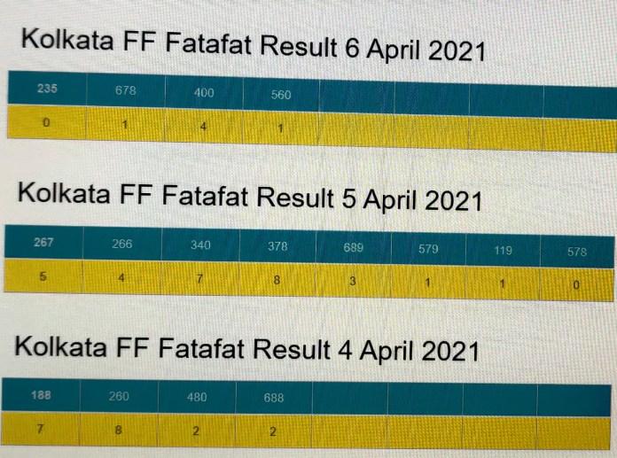 Kolkata FF Fatafat Result 6 April 2021