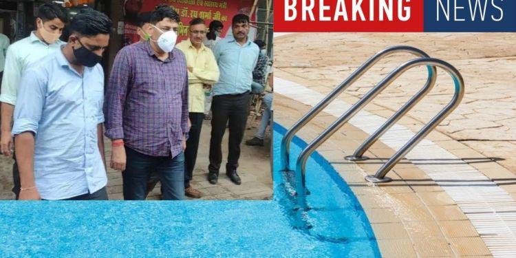 DYSP Hira Lal Saini Lady constable swimming pool video make in Pushkar Resort
