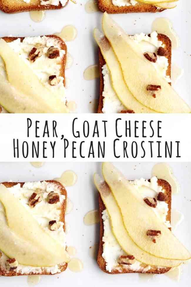 Bartlett pear, goat cheese and honey pecan crostini