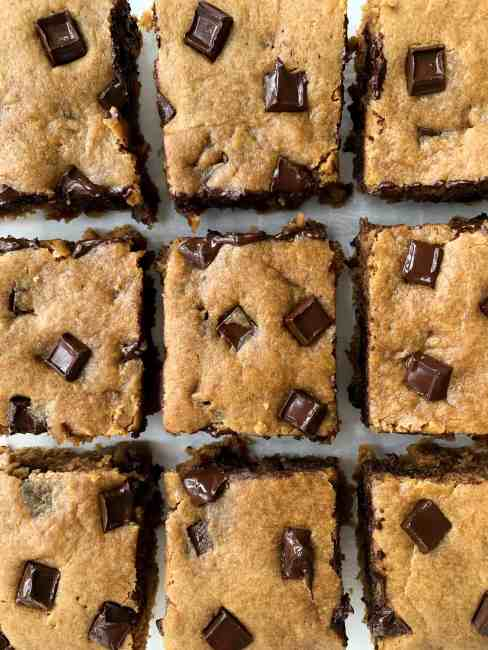 Healthy Tahini Chocolate Chunk Blondies