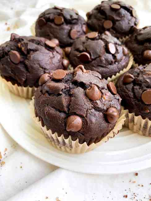 Healthy Peanut Butter Chocolate Banana Muffins