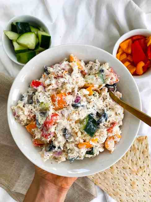 Healthy Mediterranean Tuna Salad Recipe with no mayo