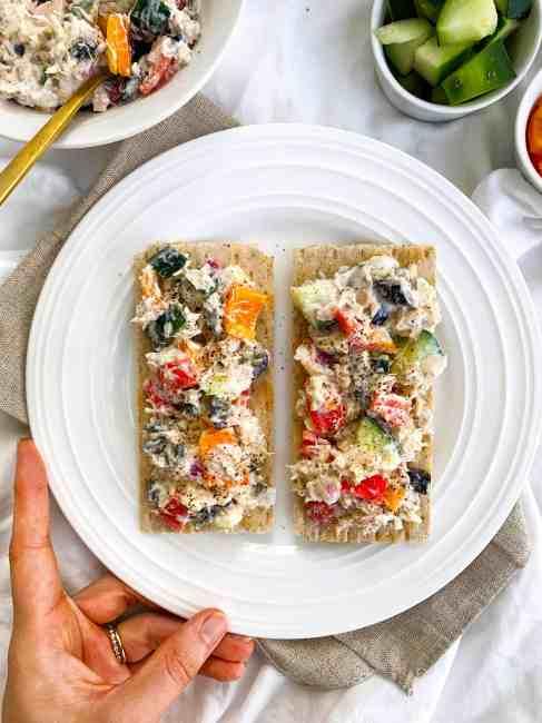 Healthy Mediterranean Tuna Salad Recipe with no mayo