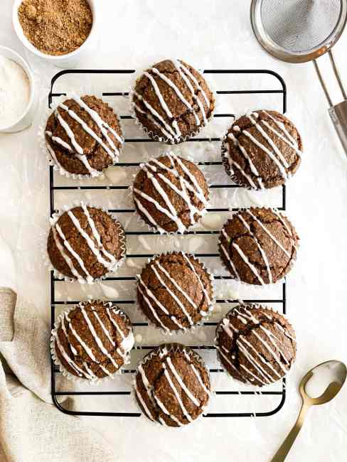 Vegan and Gluten Free Gingerbread Muffins with Vanilla Glaze