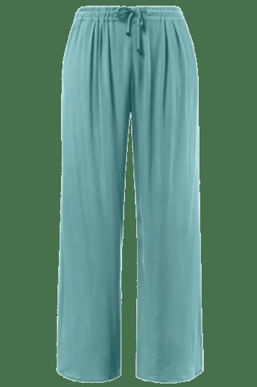 Ulla Popken Viscose Crinkle Drawstring Elastic Waist Pants