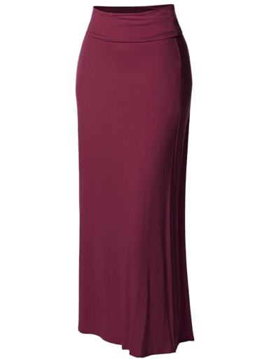 Made by Emma Fold Over Flare Long Maxi Skirt Burgundy