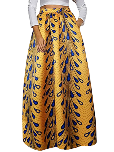Red Dot Boutique Maxi Skirt orange yellow with blue shapes