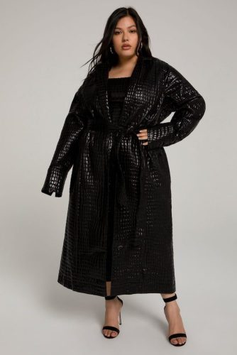 Good American croc-style trench coat in black