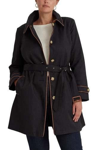 Lauren Ralph Lauren trench raincoat in black with orange piping