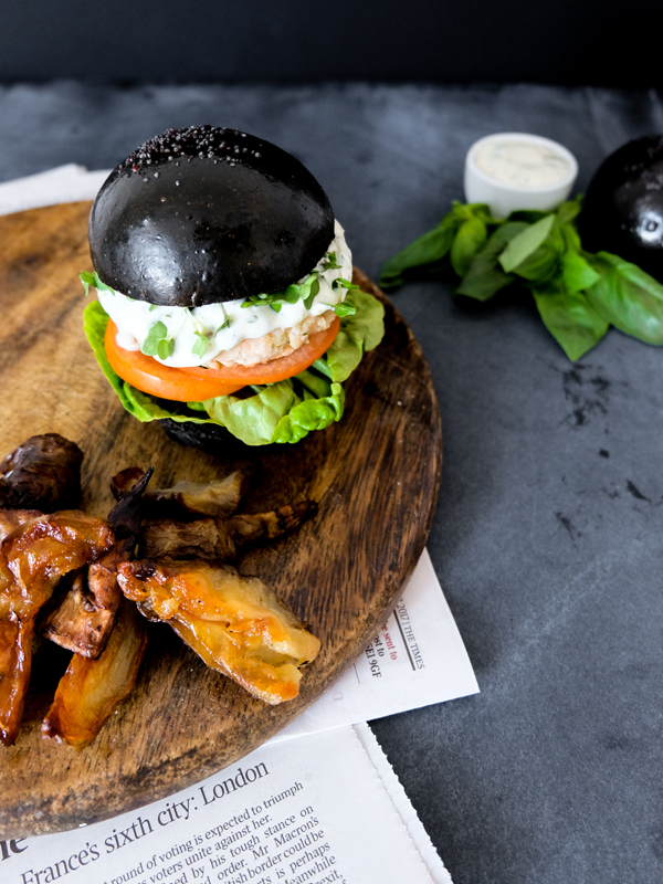 Salmon burgers with basil lime aioli in squid ink brioche | Hello Victoria