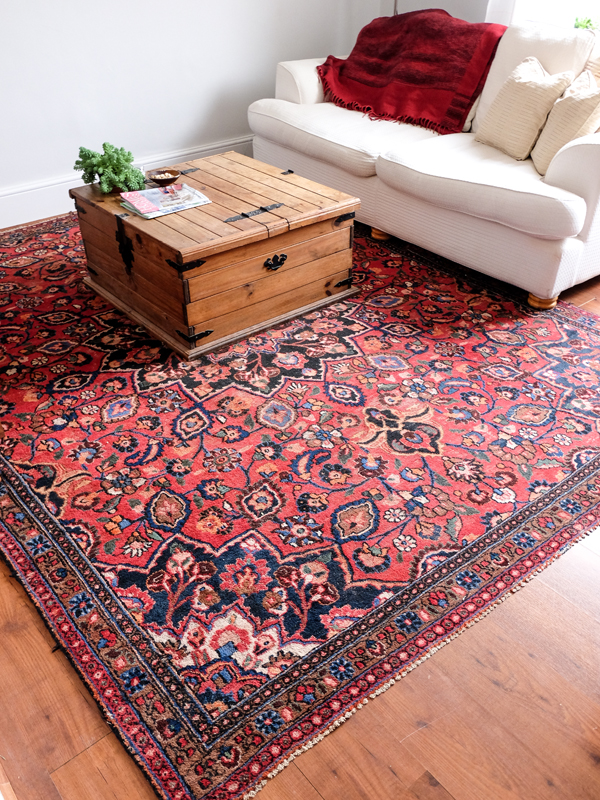 Antique rug in the living room | Hello Victoria