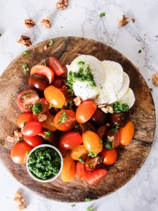 Caprese salad with stinging nettle pesto | Hello Victoria
