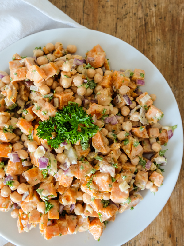 Sweet potato, chick pea + tahini salad | Hello Victoria