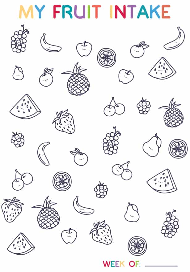 FRUIT TRACKER COLORING PAGE FOR KIDS AND EASY APPLE SNACK
