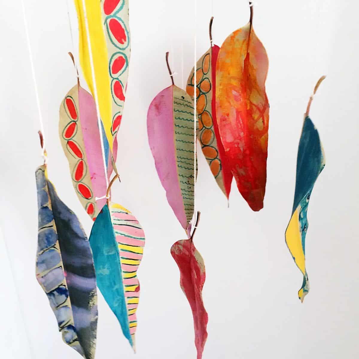 Diy Painted Nature Leaf Mobile