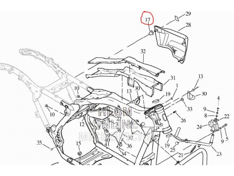 Harley-Davidson guma pod boční plastový kryt Electra Glide