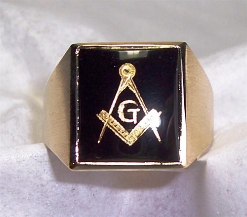 Black Onyx Masonic Ring  Custom Made Black Onyx with Square and Compass Symbols