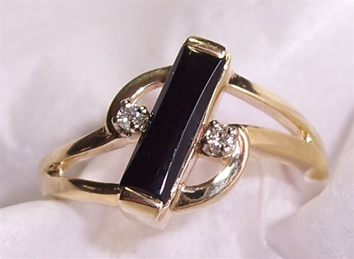 Womens Black Onyx Ring