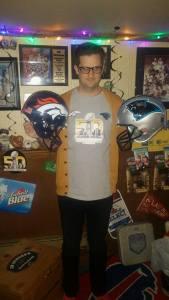 Me and my custom Superbowl 50 helmets.