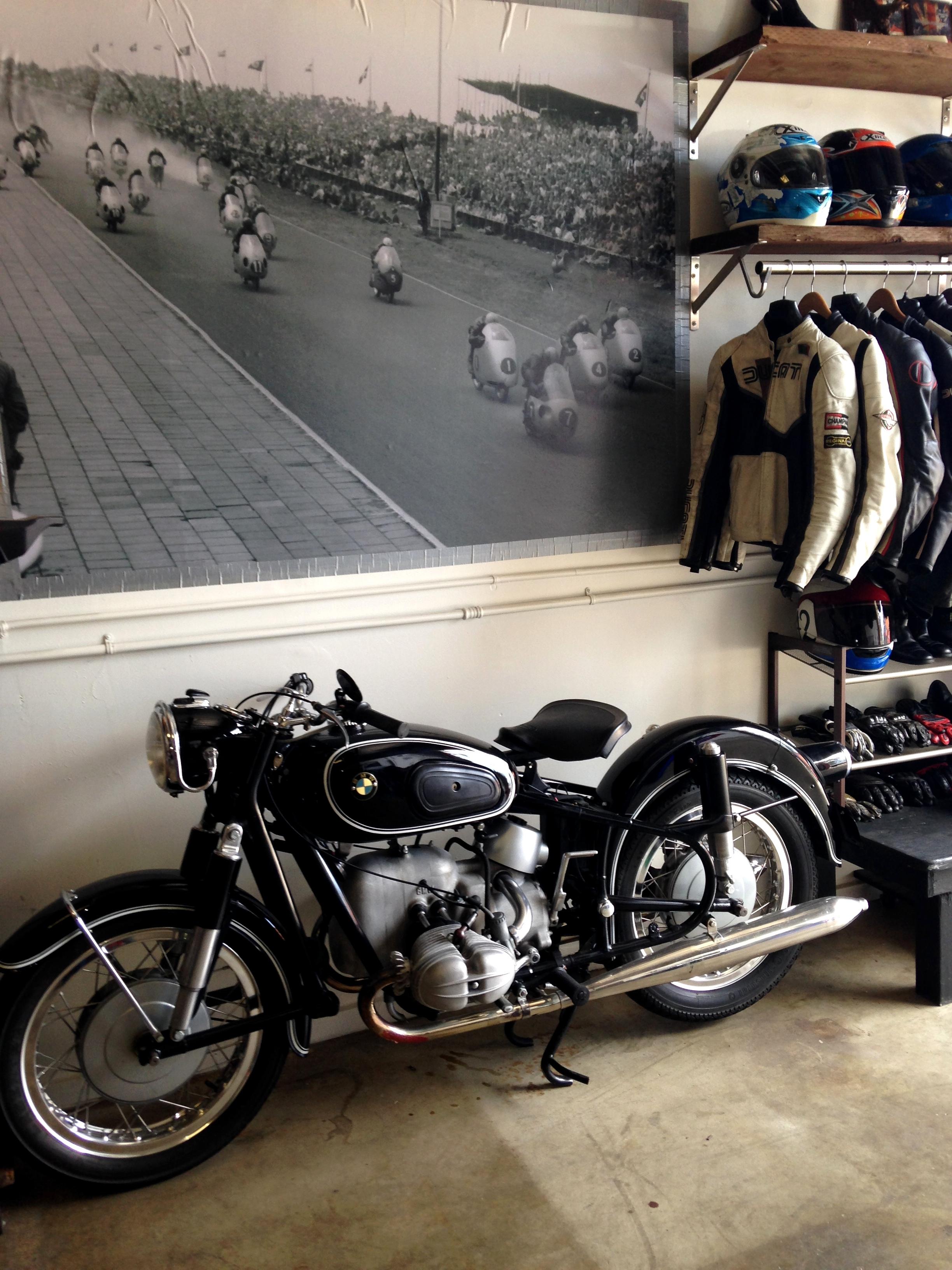 Vintage Motorcycle Garage Rental  Helmets n Heels