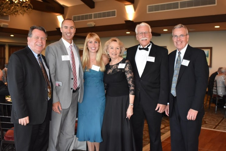 Scott Donnelly, CPA, H.E.L.P. Board Secretary and Pearl Sponsor, left; with Steve Napolitano, gala M.C. and Platinum Sponsor, L.A. County Board of Supervisors; Hana Huff, M.D., Britt Huff, Ph.D., Ken Huff, M.D. and H.E.L.P. Board Chair, Tom Paulsen, M.D.