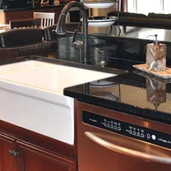 White Porcelain Kitchen Sink Kids Toys Sinks Review Pros And Farmhouse In Combination With Black Granite Countertops Cherry Cabinets