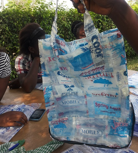 The sachets is now a strong plastic bag, made by our students