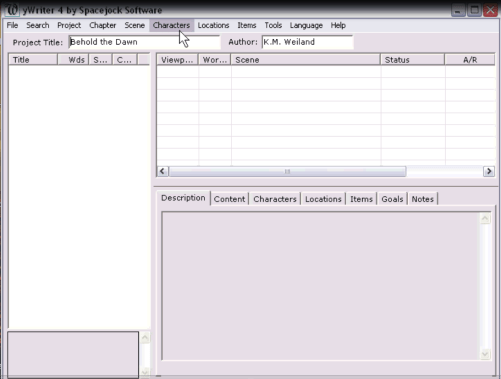 Characters in yWriter Writing Software Tutorial