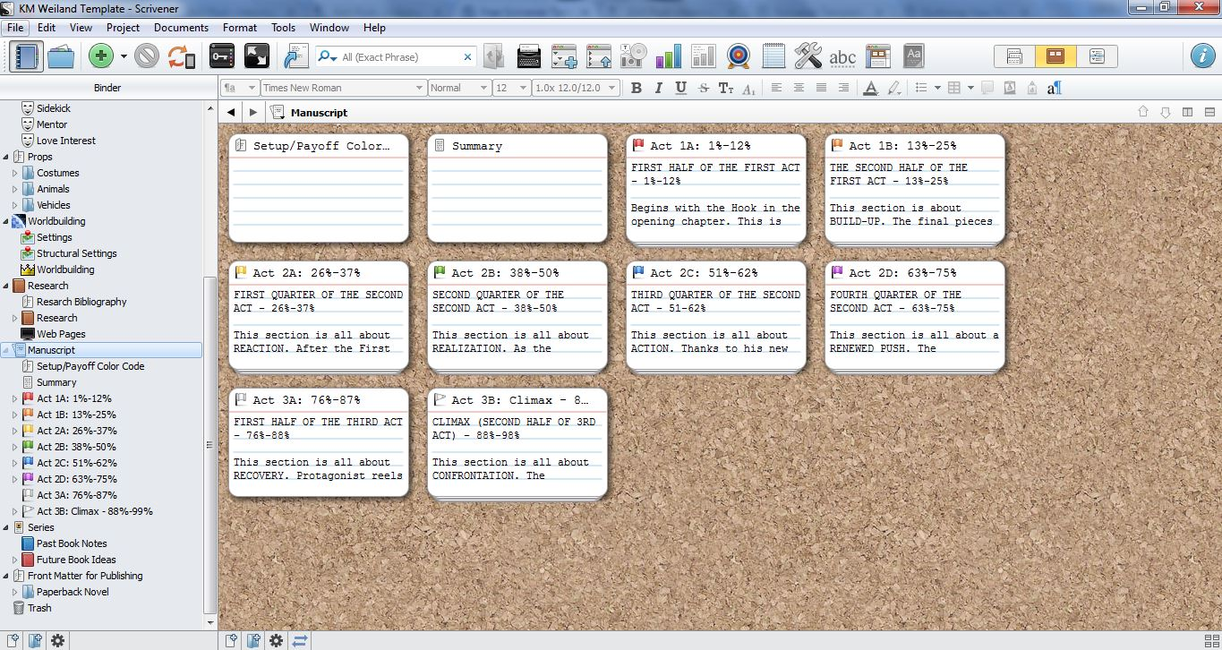 scrivener template for outlining and structuring your