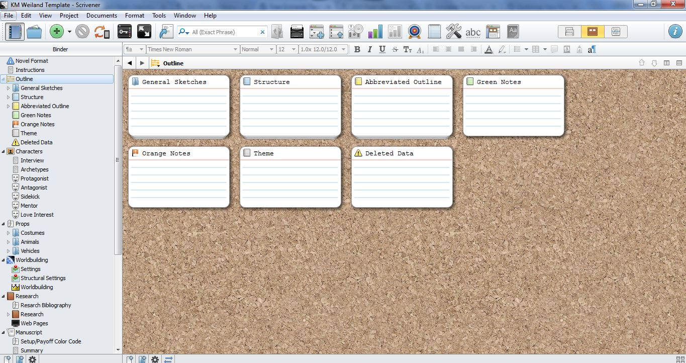 scrivener template for outlining and structuring your novel