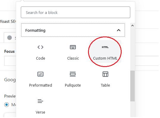 Custom HTML option Gutenberg