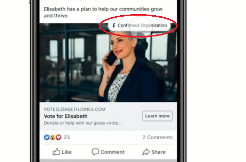 facebook ad confirmed organization