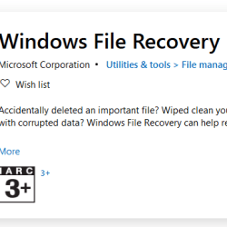 Microsoft's free Windows File Recovery Tool