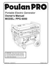 Poulan PPG6000 Support and Manuals