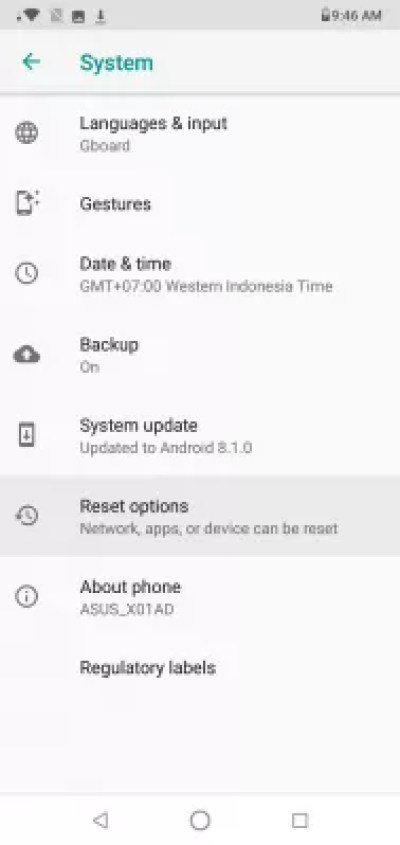 How to factory reset Android phone? : Reset option in system settings
