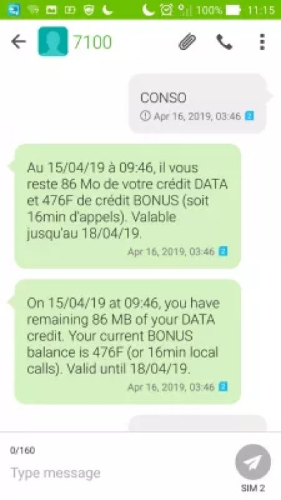VINI SIM card French Polynesia, how to have mobile internet in Tahiti? : VINI credit balance check by SMS