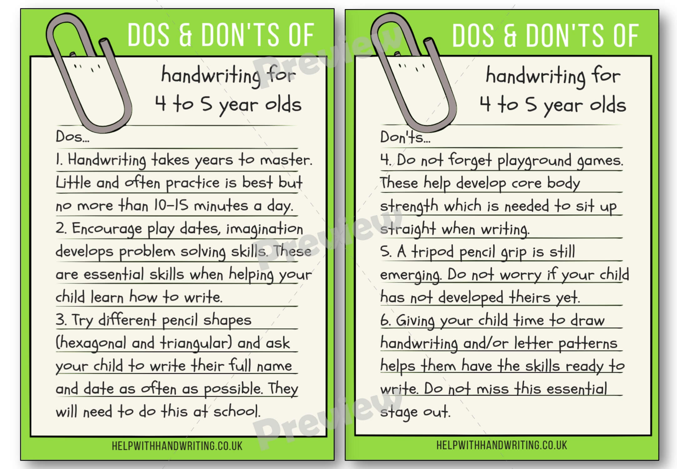 Dos Amp Don Ts Handwriting Guide By Age Archives