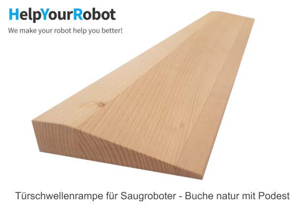 Türschwellenrampe aus massivem Holz für Saugroboter - Buche natur mit Podest