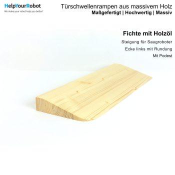 Türschwellenrampen aus Massivholz für Saugroboter - Fichte mit Holzöl