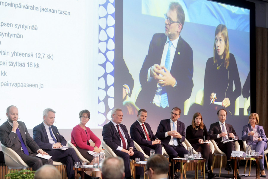 The chairpersons of all nine parliamentary parties took part in a debate hosted in Helsinki on Wednesday by the Confederation of Finnish Industries (EK). (Credit: Vesa Moilanen – Lehtikuva)