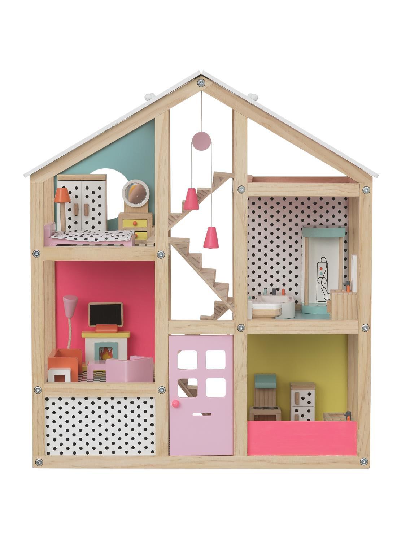 gemeubileerd houten poppenhuis 525 x 24 x 61 cm  HEMA