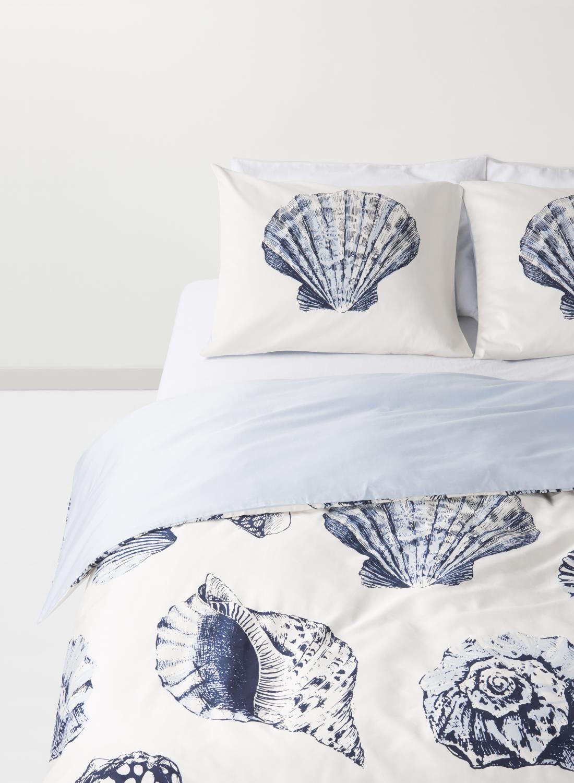 dekbedovertrek  hotel katoen satijn  schelp zeeblauw  HEMA