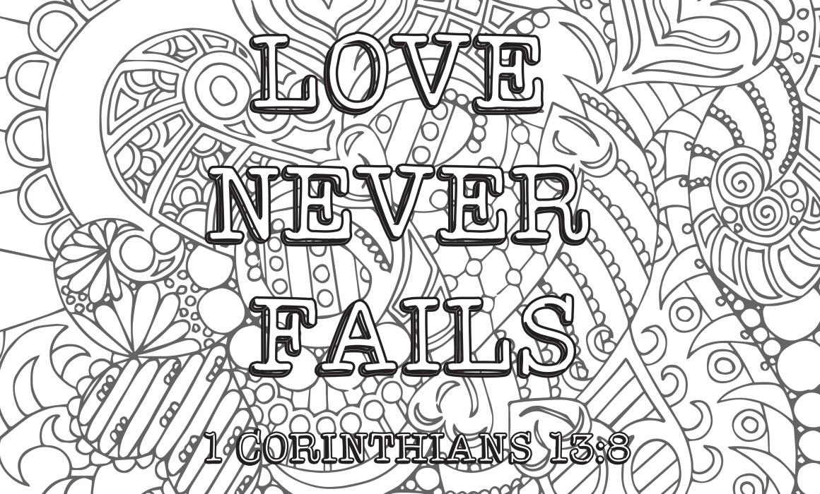 love never fails kleurplaat