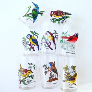 glas met vogels retroloekie