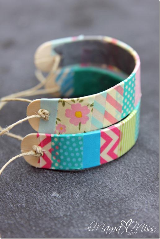 washi tape houten armband hemelsblauw