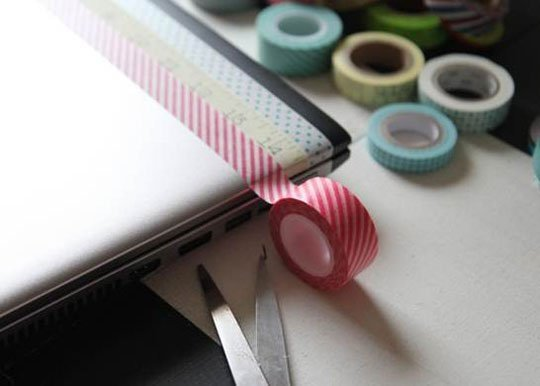 washi tape hemelsblauw laptop