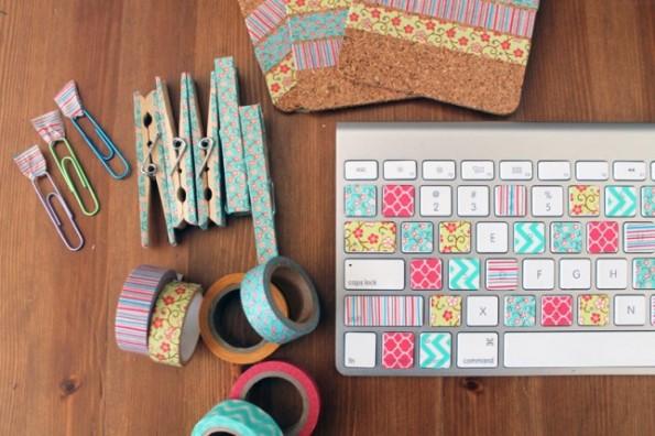 toetsenbord washi tape hemelsblauw